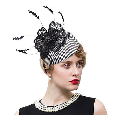 Womens Feather Sinamay Fascinator Kentucky Derby Hat Royal Ascot Race Party T245