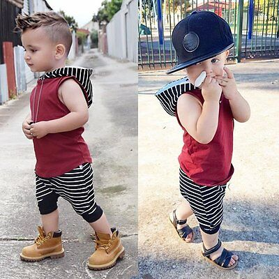 2pcs Toddler Kids Baby Boy Hooded Vest Tops+Short Pants Outfits Clothes Set 1-6Y