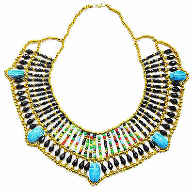 Pharaoh Costume  Multi Beaded Cleopatra Scarab Necklace Collar Christmas   234