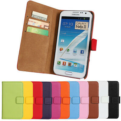 For Samsung Galaxy Note 2 N7100 Genuine Leather Wallet Case Protector Pouch