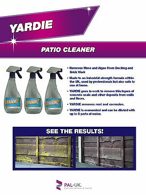 Yardie Mould Algae Moss Killer Remover Bricks Decking Paths Fencing 5L or 10L-