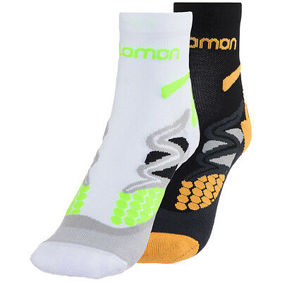 Salomon XT Hawk Socken 2er Pack White/Neon Green + Black/Orange 2017 Laufsocken