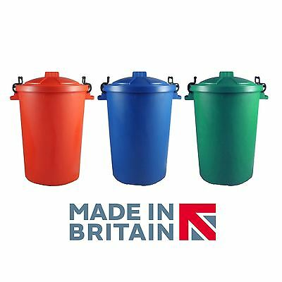CrazyGadget® 50L Outdoor Bin with Locking Clips Set of 3 (Red, Blue & Green)