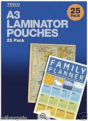 A3 Laminating Pouches 75 Micron with Safe, Rounded Edges 25 Pack