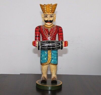 "Antique Style Handmade Painted Wooden Men Musician Big 19"" Statue #283"