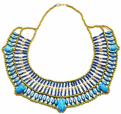 Pharaoh Costume HandMade Multi Beaded Cleopatra  Scarab Necklace Collar   234
