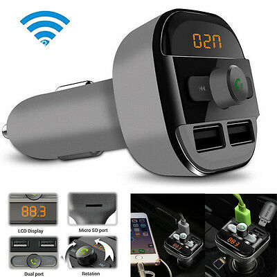 Bluetooth Car Kit Wireless FM Transmitter Dual USB Charger Audio MP3 Player SD