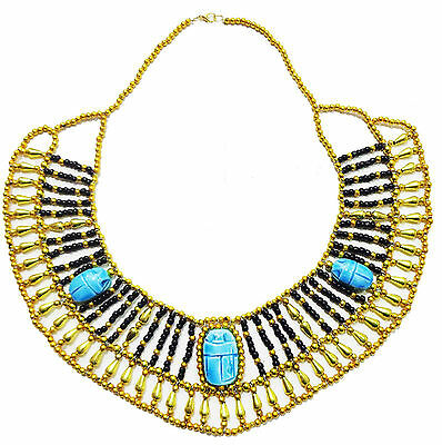 Egyptian Multi Beaded Cleopatra  Scarab Pendant Necklace Collar Christmas   234