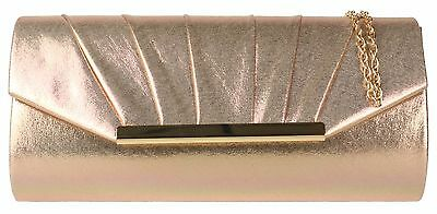 Shimmer Satin Clutch Bag Wedding Pleated Elegant Evening Womens Fashion Handbag