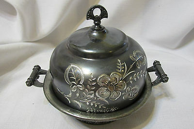 Vintage ALBANY SILVER PLATE CO ETCHED Dome Covered Butter dish bowl lid # 5106