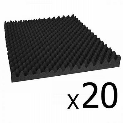 NEW 20x Recording Studio Home Theatres Eggshell Shape Sound Acoustic Foam- Black