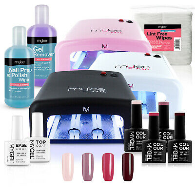 Mylee Bluesky Kit UV Lamp 4 Colours Gel Nail Polish Top Base Prep & Wipe Remover