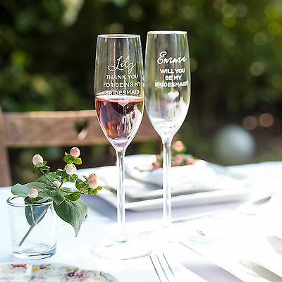 Bridesmaid Champagne Glass, Personalised Flute for Bridesmaid ALL23TH/WI -L1C1/2