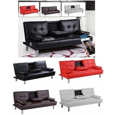Modern Faux Leather 3 Seater Sofa Bed & Bluetooth Speaker Optional