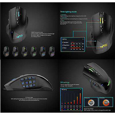 HAVIT Programmable MMO Gaming Mouse 19 buttons Adjustable 12000DPI Ergonomic NEW