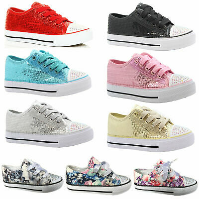 Girls Canvas Shoes Childrens Diamante & Sequins Casual Pumps Plimsolls Trainsers