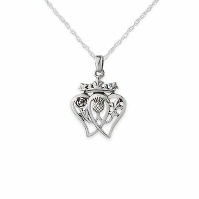 Mary Queen Of Scots Silver Twin Heart Pendant 9636