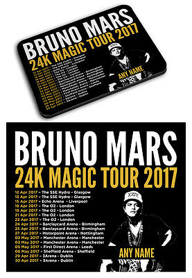 Personalised Bruno Mars 2017 Tour Printed Mousemat Mouse Mat Pad Any Name