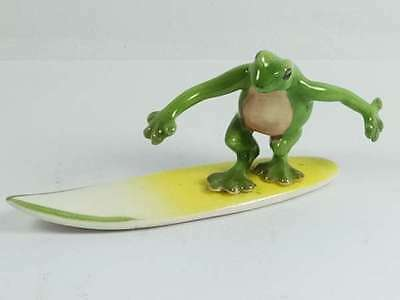 Frog Funny Windsurf Ceramic Doll Figurine Miniature Dollhouse Decor Gift Toy