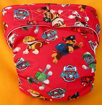 Adult New AIO Reusable Super Absorbent Cloth Diaper S,M,L,XL Paw Patrol on Red