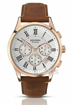 Sekonda Gents Rose Gold Plated Chronograph Watch Light Brown Leather Strap 1144