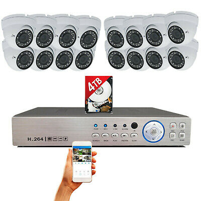 16 Channel w/ 16 pcs HD Day Night Vision In/ Outdoor CCTV Security Camera w/ 4TB