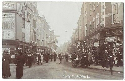 BRISTOL Castle Street at Peter Street, Busy Scene RP Postcard Postally Used 1912
