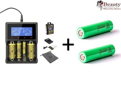 XTAR VC4 LCD Screen USB Battery Charger with Samsung 18650 2500mAh Battery x 2