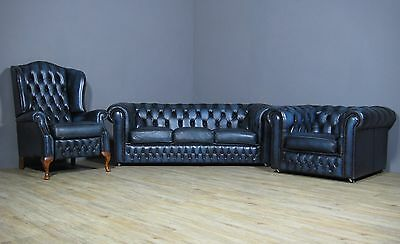 Salotto 3 Pezzi BLU - Divano, Club, Queen Anne Reclinabile CHESTERFIELD Vintage