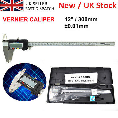 "High Quality 300mm 12"" Inch Digital Vernier Caliper Hardened Stainless Steel -UK"