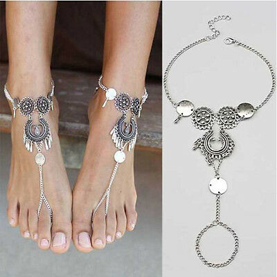 1pc Women Bohemian Indian Jewelry Antique Hollow Flower Chain Beach Anklets New
