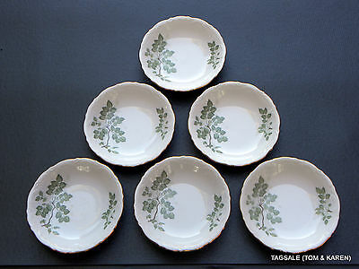 """GREEN LEAVES by MITTERTEICH ~ Lot of 6 ~ 5 4/8"""" Berry Bowls ~ Germany"""