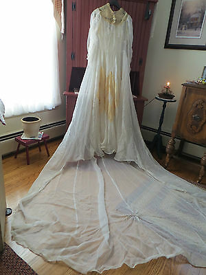 Vintage 30's Chiffon Satin Lace Wedding Gown