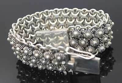 Fabulous Vintage Indian Filigree Fancy Mesh Sterling Silver Bracelet Size 7.5""