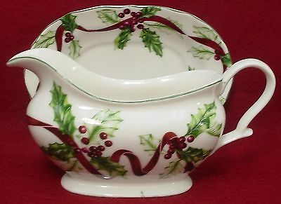 CHARTER CLUB china WINTER GARLAND pattern GRAVY BOAT detached UNDERPLATE/Relish