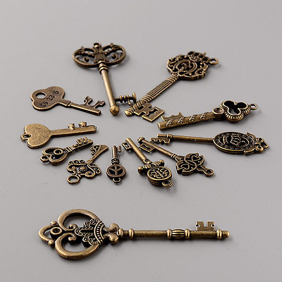 12 Assorted Antique Vintage Old Look Royal Bronze Pendants Vintage Key