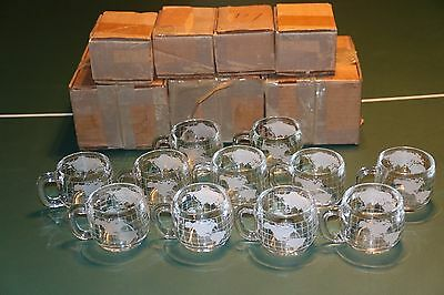 Set Of 28 Vintage Nestle Nescafe Heavy Etched Glass World Globe Mugs Cups