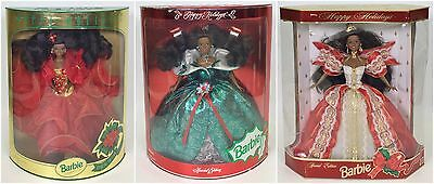 Lot Of 3 Happy Holidays Barbie African American Aa 1993 1995 1997 Nrfb