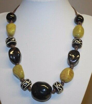 Lucite & Chunky Glass Beaded Statement Necklace Green Black White Beads Copper