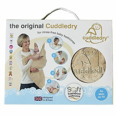 Cuddledry Hands Free Baby Bath Towel With Apron & Hood - Oatmeal