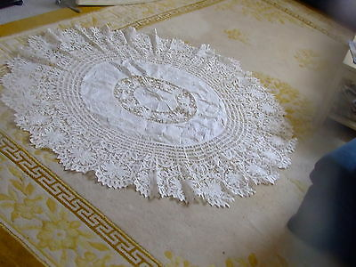 "Antique Round White Floral Lace & Embriodered Linen Tablecloth 62"" Diameter Nice"
