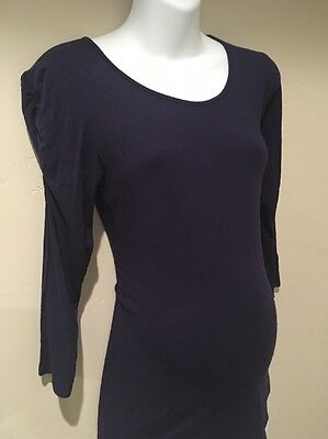 Rosie Pope Maternity Navy Ruched Sleeve Top Medium M 3/4 Sleeve