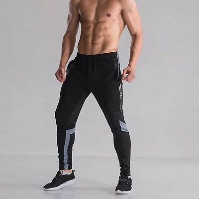Men Football/Soccer Training Warm Up Trouser Gym Joggers Sport Tapered Pants Fit