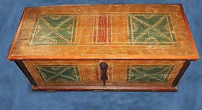 Antique Painted Pine Trunk - 19th Century Decorated Dower Chest
