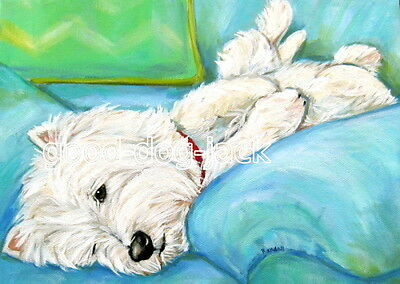 West Highland Terrier ACEO WESTIE PRINT Painting LAZY, LAZY BOY! Dog Art RANDALL