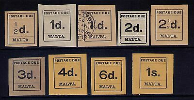 MALTA POSTAGE DUE STAMPS SC#J1-9 MH/Used