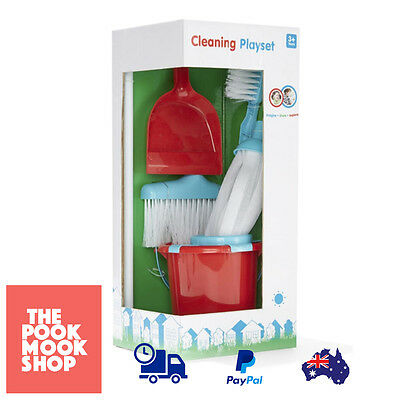 Bucket & Cleaning Set Play Pretend Toy Toddler Kid Little Broom Playset Roleplay