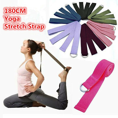 180CM Sport Yoga Stretch Strap D-Ring Belt Gym Waist Leg Fitness Adjustable Belt