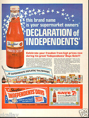 1969 LARGE Print Ad of Shurfine Tomato Catsup 'Independents' Days