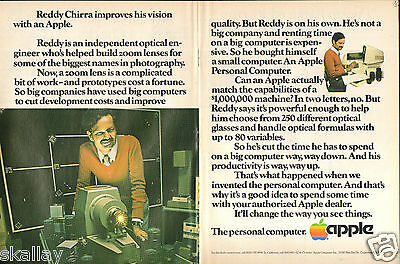 1981 2 Page Print Ad of Apple The Personal Computer